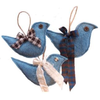 wool bird ornaments