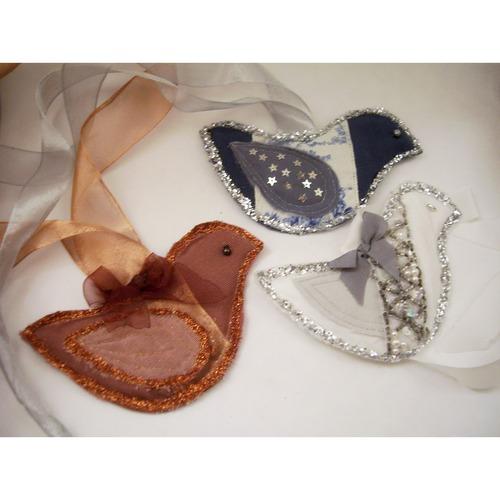 glittery bird ornaments or tags